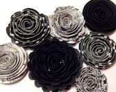 Handmade Spiral Flowers Set of Seven - Formal Black Tie