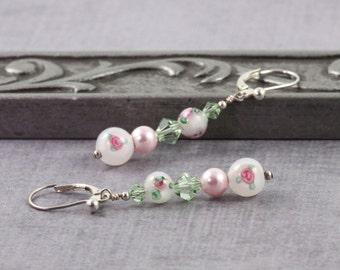Floral Earrings Pink Pearl Earrings Romantic Jewelry Green White Flower Earrings Lampwork Bead Earrings Wedding Jewelry Bridesmaid Earrings