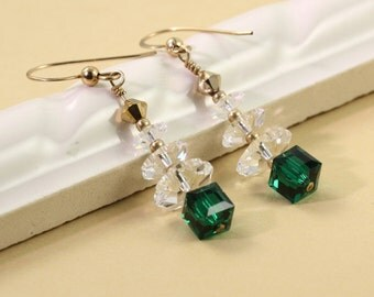Gold Christmas Earrings Green Tree Earrings Green Christmas Jewelry Clear Crystal Tree Earrings Emerald Xmas Tree Gold Holiday Jewelry