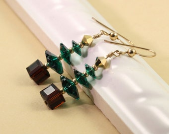 Gold Holiday Jewelry Green Tree Earrings Christmas Jewelry Brown Tree Earrings Crystal Tree Earrings Emerald Xmas Tree Christmas Earrings