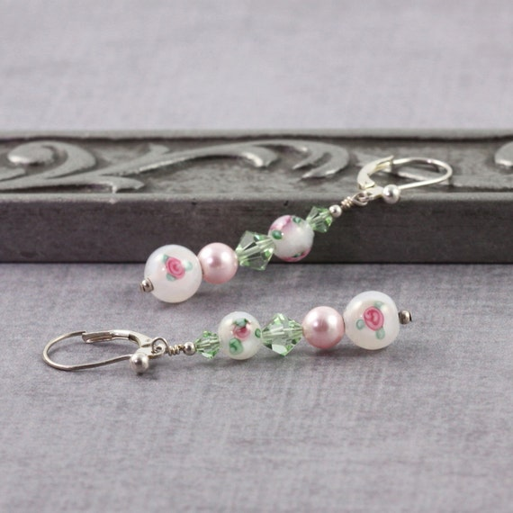 Floral Earrings Pink Pearl Earrings Romantic Jewelry Green White Flower Earrings Lampwork Bead Earrings Wedding Jewelry Bridesmaid Earrings