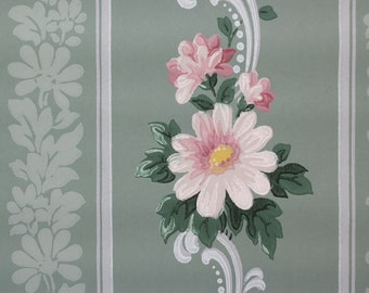 1940s Vintage Wallpaper Pink Daisies with Scrolls on Green by the Yard