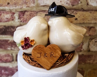 Firefighter with Custom Helmet Bouquet and Heart