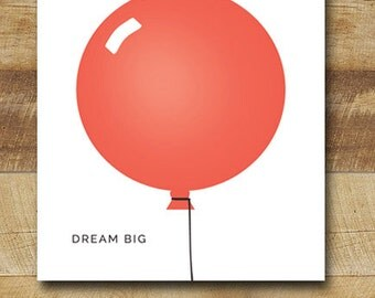 red balloon children's art print, nursery art poster, modern nursery wall art, 8x10 - dream big