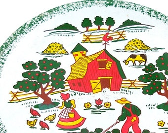 60's Tin Toy Tea plate, Apple Farm graphics, white background, larger size.