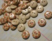 """Floral Print Wood Buttons - Harvest Colors Wooden Button - 5/8"""" 15mm - 55 Buttons - LAST OF STOCK"""