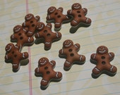 "Gingerbread Men Buttons - Christmas Sewing Button - 7/8"" - 9 Buttons"