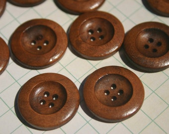 "Round Wood Buttons - Sewing Bulk Wooden Button - 1"" - Medium Color - 12 Buttons"