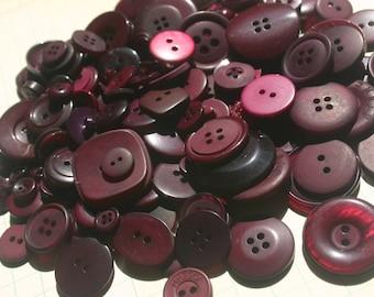 Dark Purple Buttons - Sewing Round Bulk Button - 100 Buttons - Marsala