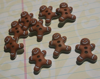 "Gingerbread Men Buttons - Christmas Sewing Button - 7/8"" Wide - 8 Buttons"