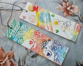 Rainbow Dachshund White Bookmarks Set Of 2 Original Scratch Art Laminated