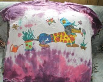 Dachshund In The Garden Wiener Dog Purple Pink Tie Dye T Shirt Extra Large Adult Unisex