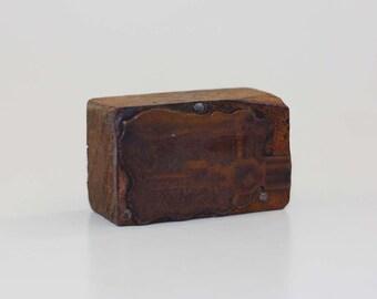 Vintage Metal Industrial Printers Stamp or Block