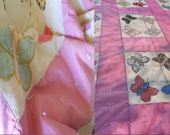 50s vintage pink Quilt Embroidered Butterflies antique fabric twin topper girl