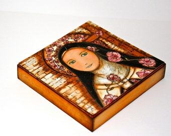 The Little Flower of Jesus -  Giclee print mounted on Wood (8 x 8 inches) Folk Art  by FLOR LARIOS