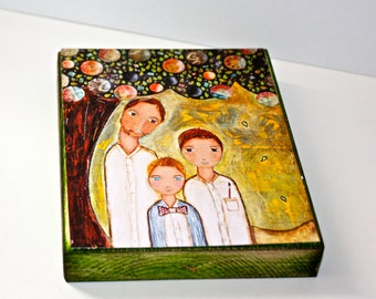 Father with Sons -  Giclee print mounted on Wood (5 x 7 inches) Folk Art  by FLOR LARIOS