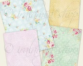SPRING PAPERS Collage Digital Images -printable download file-