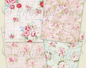 FLOWERS backgrounds Collage Digital Images -printable download file-