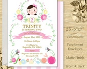 Girl Bug Garden Party Invitation 25 5x7 press printed cards with envelopes customizable