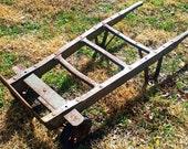 Vintage Primitive Wood Metal Trolley Cart