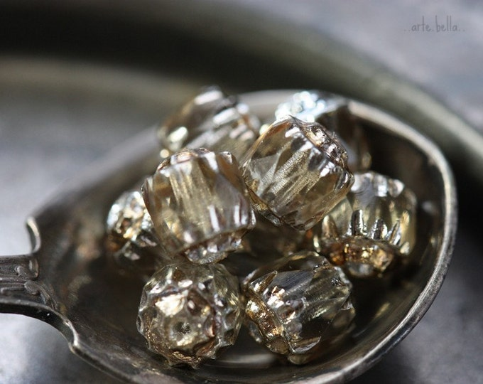 SMOKEY BITS .. 10 Fire Polished Czech Cathedral Beads 6mm (3848-10)