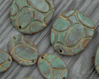 Handmade Pottery Beads 3 piece set in Seagreen with oval pattern