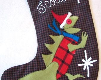 Tri Santa Saurus Stocking