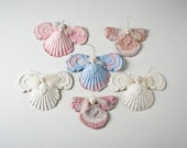 Handmade Paper Angels, 6 Pastel Paper Molded Angels, Baby Room Decor, Girl's Room Decor