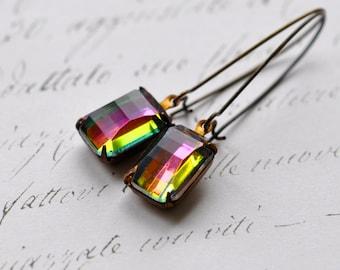 Rainbow Rhinestone Earrings - Vintage Vitrail Rhinestones on brass