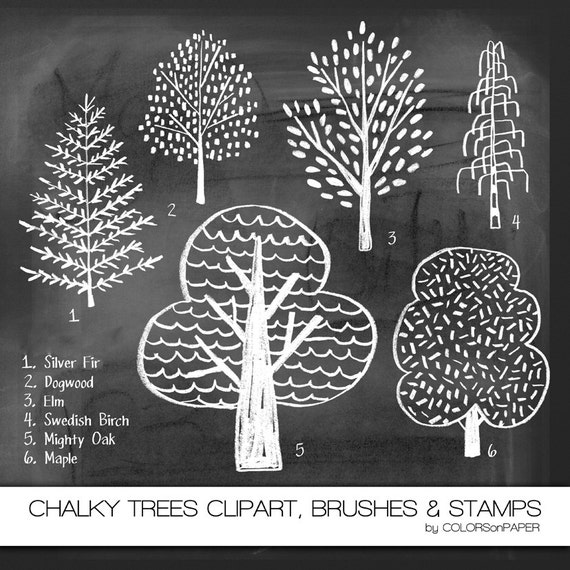 items similar to chalkboard trees digital clipart