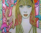 Singleton Hippie Art, Go Ask Alice, Alice in Wonderland, The Rabbit, trippy art, psychedelic art, Hippie Chic, Mushroom art, fairytale art