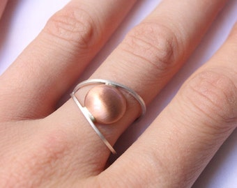 "Modern ring made of sterling silver and copper,  made to order in your size ""Line and Point Ring II"""