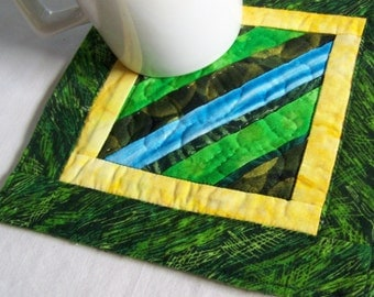 Scrappy Strings Mini Quilt, Mug Rug or Coaster in Green and Yellow