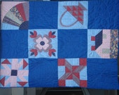 Vintage Red and Blue Sampler Quilt