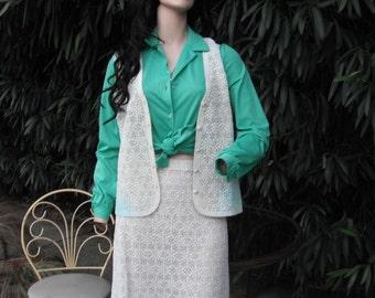 2 PC. 70s Boho Crochet/Knit Skirt w/Matching Vest / Medium/Large