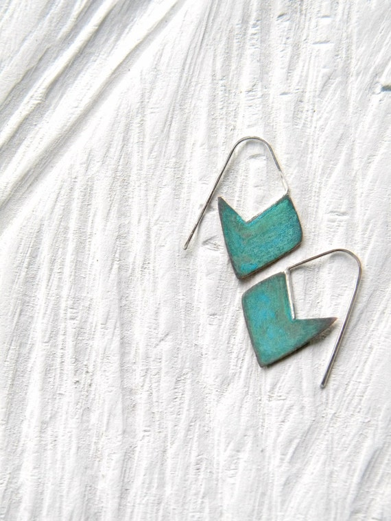 FREE SHIPPING - Geometric Verdigris Earrings - sparrow blossom - copper sterling silver verdigris patina, made in Italy