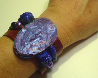 Blue violet cuff bracelet upcycled palette in summer colors