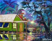 KeROBinson #7806 River House living on the water Coastal Tropical Landscape original sundown painting art