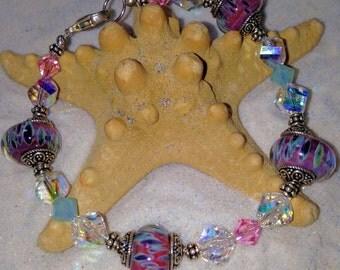 Artist borosillicate Lampwork glass bracelet