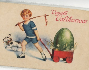 Easter vintage postcard - Vintage Easter Postcard Boy, dog and egg cart, Easter egg, Happy Easter, Easter greetings