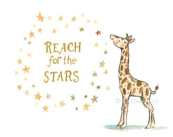 Children's Art --- Reach for the Stars Giraffe -- Archival Print
