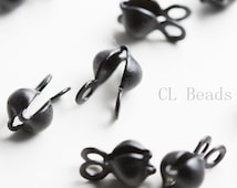 30pcs Matte Black Plated Brass Base Clam Shell Bead Tip - 4mm (433C-I-230)