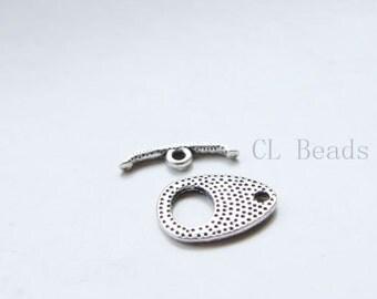 10 Sets Oxidized Silver Tone Base Metal Toggle Clasps (16490Y-B-504)