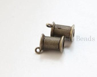 6pcs Antique Brass Tone Base Metal Charms - Wire Spool 19x14mm (19795Y-C-339)