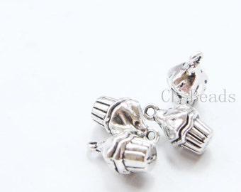 6pcs Oxidized Silver Tone Base Metal Charms-Cupcake 15x8mm (18803Y-C-354)