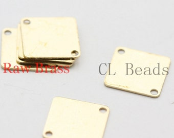 60pcs Raw Brass Square Link - 10.5x10.5mm (1839C-U-48)