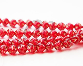 50 Pieces Czech Press Glass Square Beads - Red with Gold Star 7mm (PG35077)