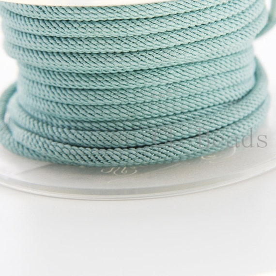 3 Feet Turquoise Green Braided Fabric Cord-Round 3mm (ML2213011)