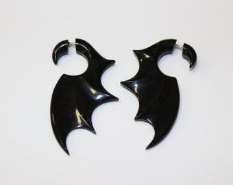 Black Bat Wings Earrings Split Gauge ,fake gauge Earrings  ,Sprial Black Horn ,Sprial Earrings ,Fancy, Tribal, Organic ,Anelajade,faux.gauge