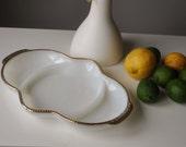 1950s Fire-King Milk Glass Dish~Gold Bubble Trim